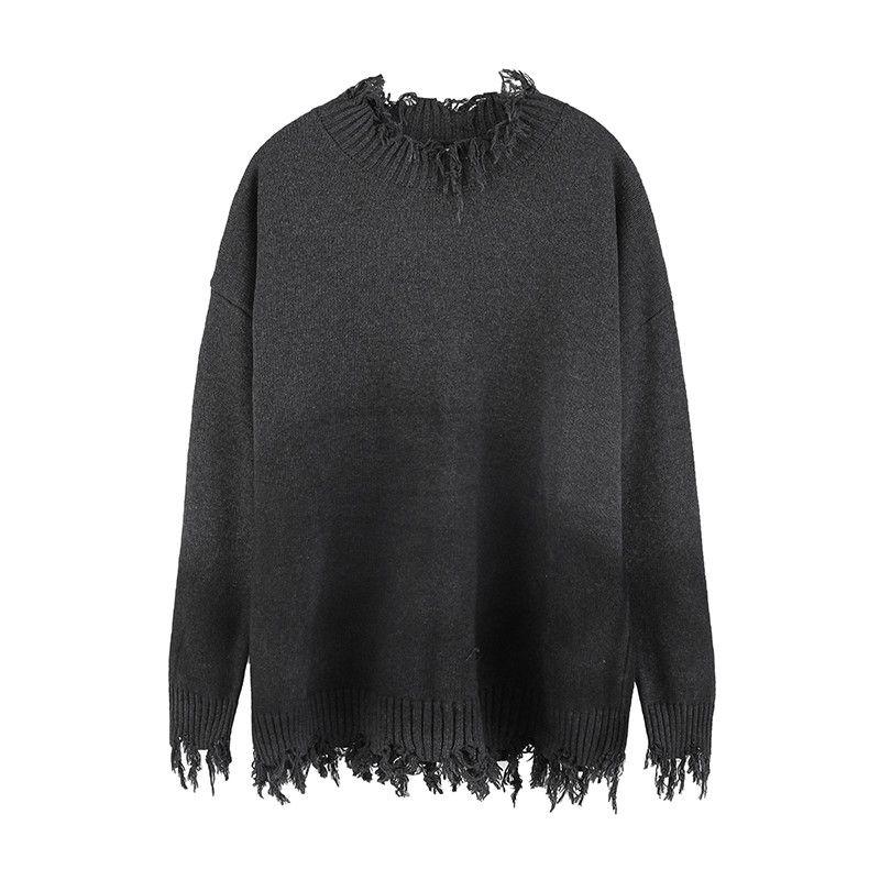 Alto sweater de gordura de alta rua para homens e mulheres buracos irregulares soltos de malha superdimension