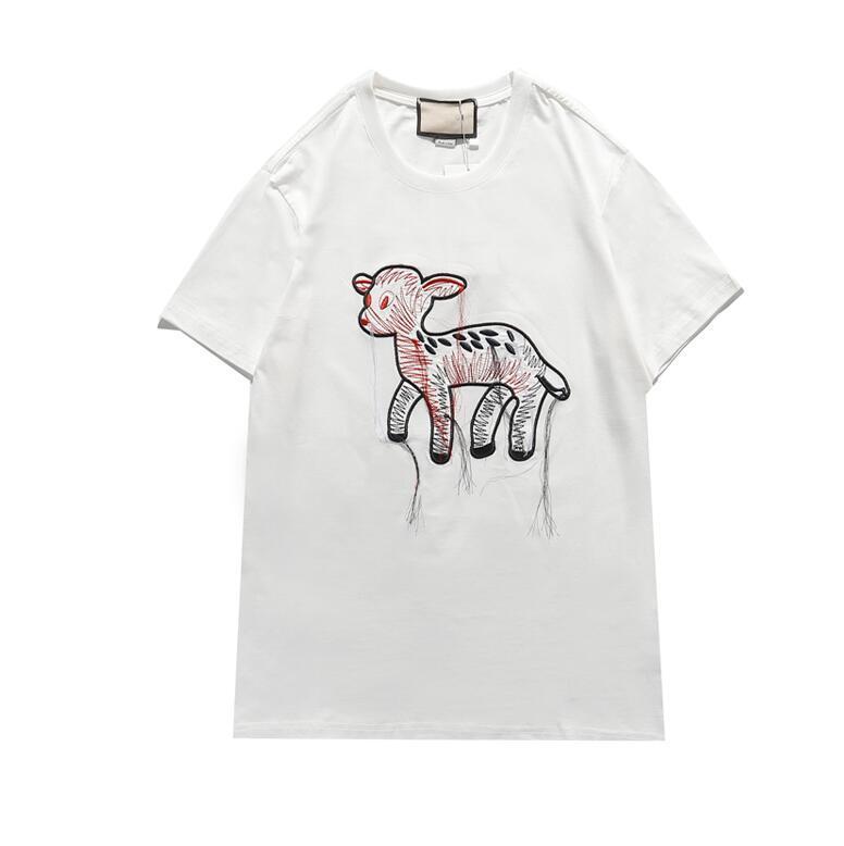 21SS Yeni Moda Tshirt Yuvarlak Boyun Kısa Kollu T-Shirt Erkekler Ve Kadınlar Üst Tee 100% Pamuk 3 Renkler S-XXL