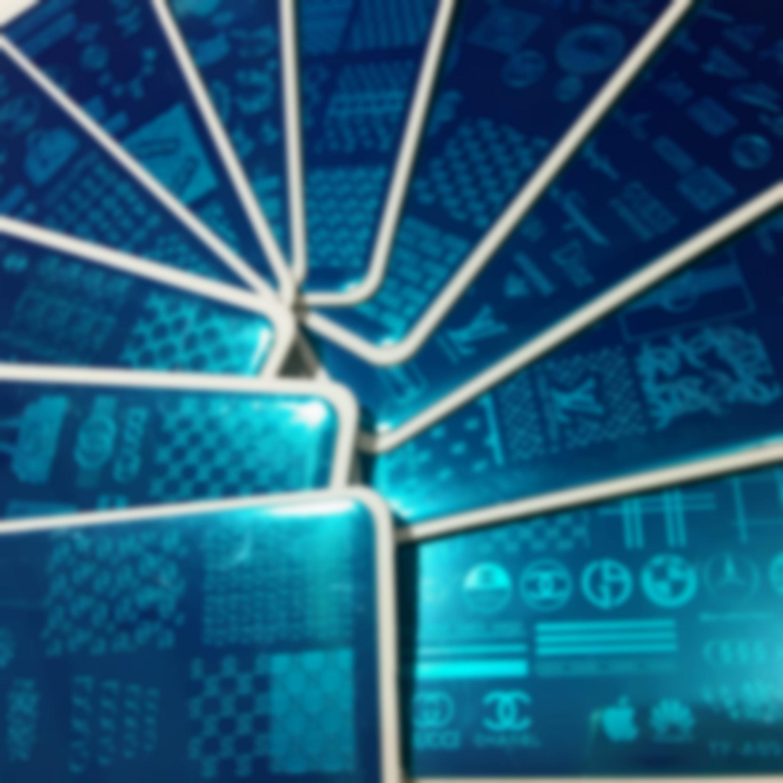 Neue 11 stücke Marke Logo Designs XL Nail Art Stamping Platte Stempelplatten Full Big Image Design Transfer Polish Druckvorlage mit Kunststofffolie