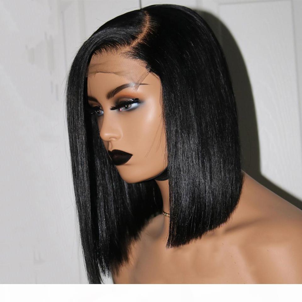 4 * 4 Шелковая база Человеческие парики для волос Примущенные шелковистые прямые короткие бобы полное кружевное парик Малайзийские реми волосы детские отбеленные узлы