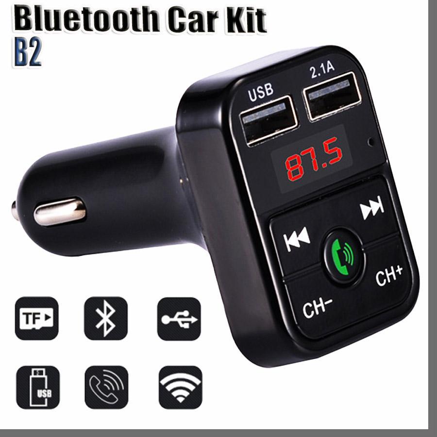 DHL 블루투스 헤드셋 B2 블루투스 자동차 FM 송신기 핸즈프리 블루투스 자동차 키트 어댑터 USB 충전기 MP3 플레이어 라디오 키트 지원 호출