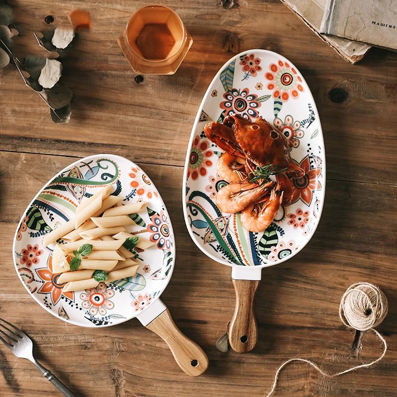 Nordic Ceramic Dinner Plates Piatto Bistecca Bistecca Insalata Vassoio con manico in legno Piatti di bistecca di Natale Decorazioni per la casa Decor per i piatti ovali per la tavola 201217