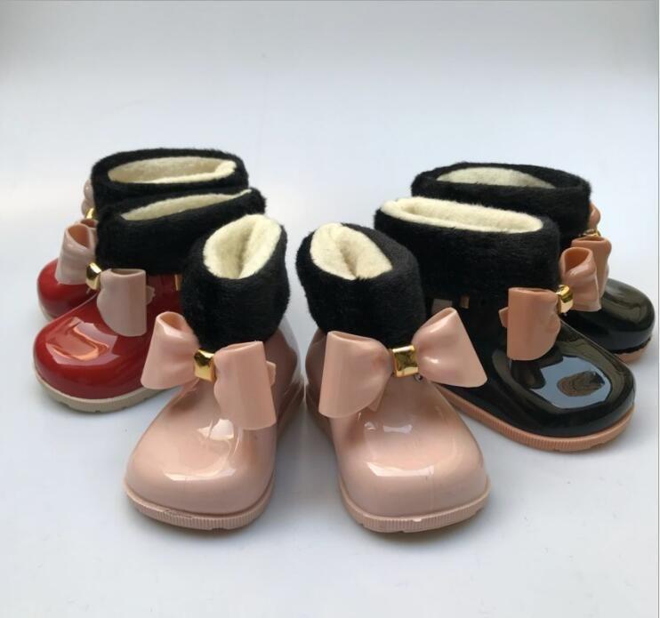 Girls Baby Rain Boots Caldo Bellezza Beauty Bow Rainboots Fashion Gomma Toddler Kids Jelly Scarpe