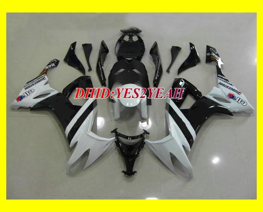 2008年のカスタムホワイトブラックフェアリングキット2008年2009年川崎忍者ZX10R ZX-10R ZX 10R 08 09オートバイフェアリングセット+ 7ギフトKQ11