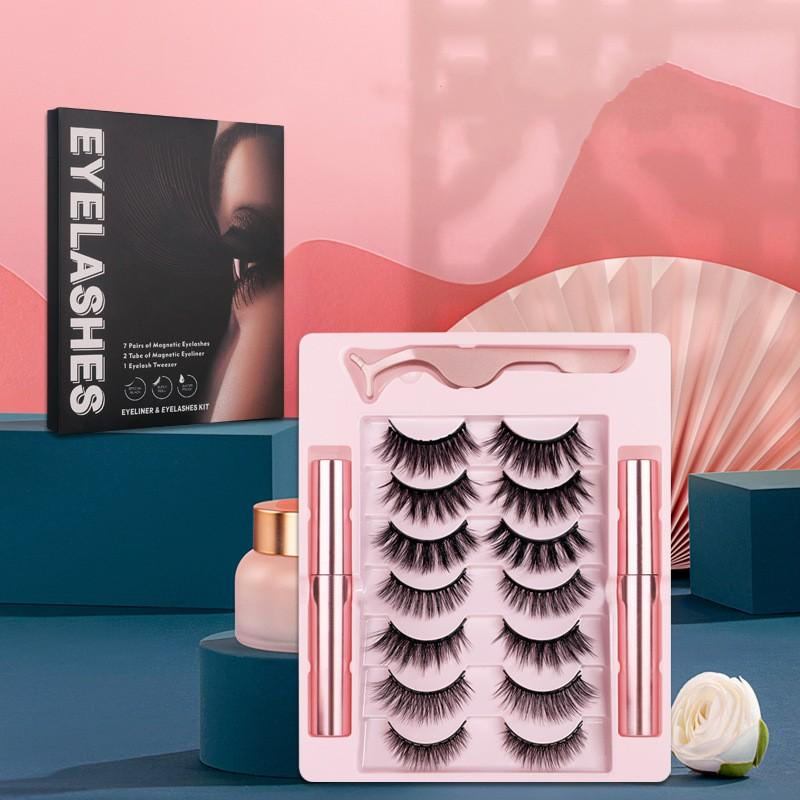 Yeni 7 Pairs 10 Manyetik Yanlış Kirpik 3D Kalın Manyetik Eyeliner Seti Manyetik Yanlış Kirpik Kılıfı
