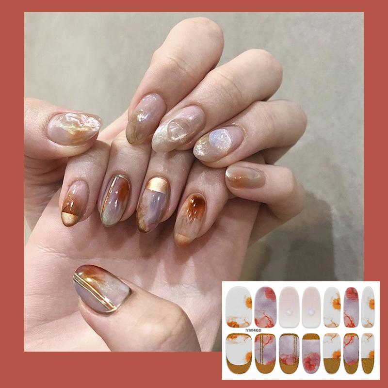 14Tips/Sheet 2020 New Designed Full Wraps Shiny Nail Art Sticker Decals Gradient Marble Strips DIY Salon Manicure Drop Ship