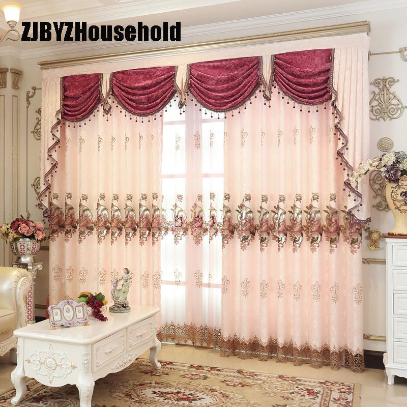 Nuove tende per sala da pranzo Camera da letto soggiorno Camera Valance Tulle Luxury European Style Embroidery Curtain Finestra personalizzata