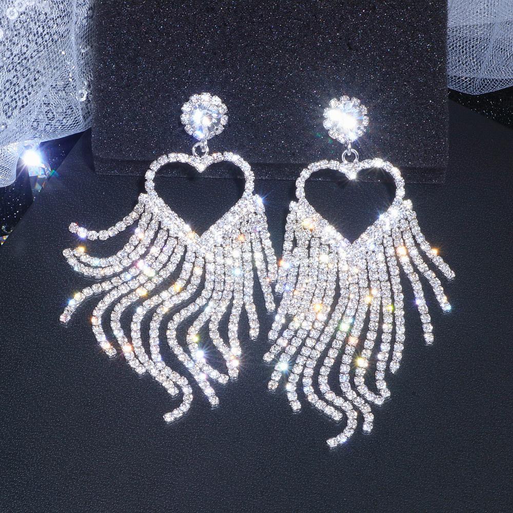 Clássico Romântico Big Coração Cristal Longo Borla Brincos para Mulheres Moda Bridal Gota Duckling Brinco Presente de Jóias De Casamento