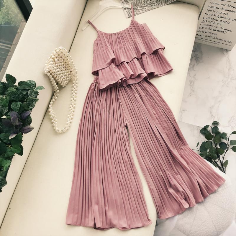 Два куска платье элегантный набор верхний и брюк 2021 летние женщины мода твердый повседневный плиссированный костюм корейская одежда Roupas Feminina1