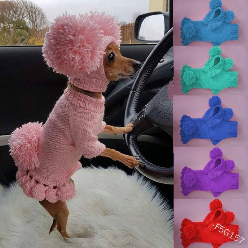 Cappelli per maglieria Maglione Pet Dog carino Tenere caldo Pommel Abbigliamento Abbigliamento Moda Accessori Berryie Coat Forniture Apparel 30by K2