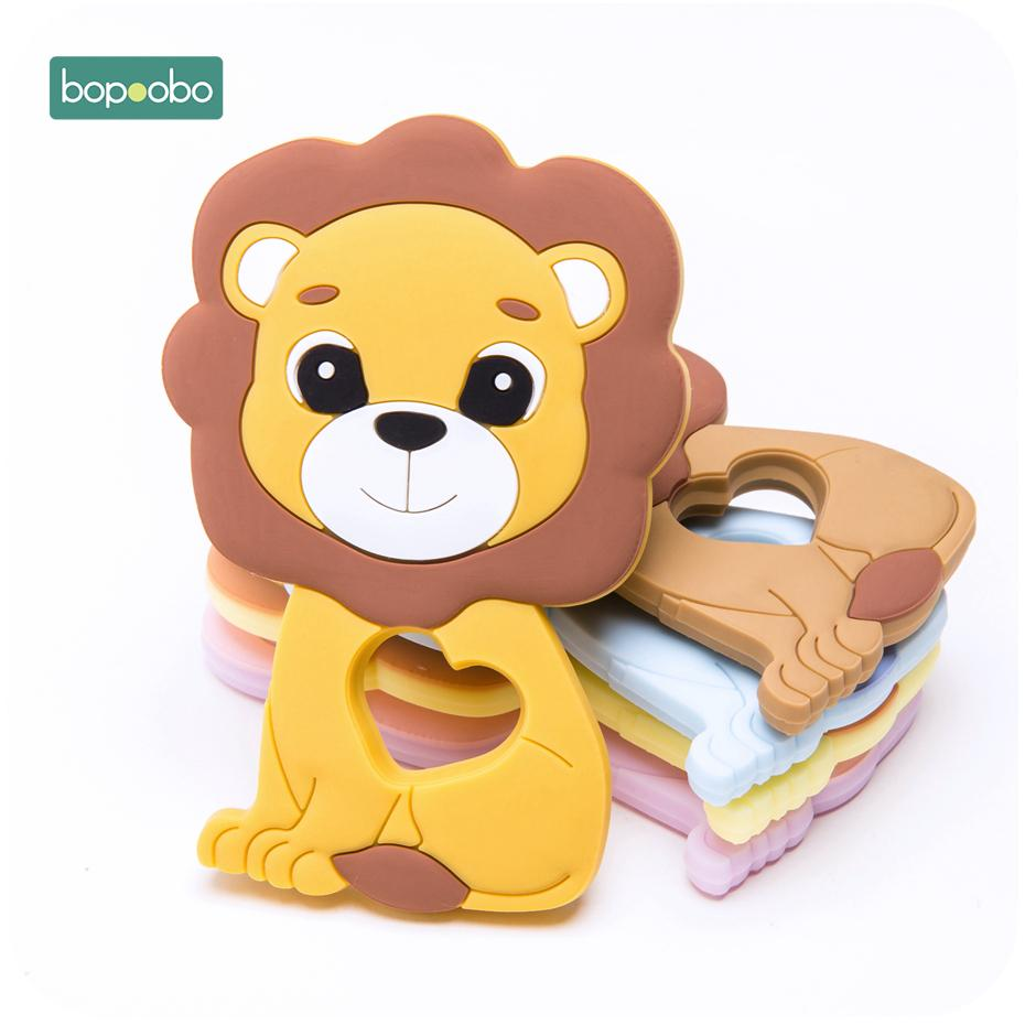 Bopoobo 10pc Baby Teether Food Grade Silicone Beads Lion Pendant Baby Teething DIY Nursing Gifts Bracelet Pacifier Chain Product 201123