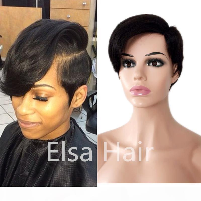 Короткие боб кружевные фронт человеческие парики волос с детскими волосами Бразильские прямые парики для волос отбеленные узлы боковая часть Натуральный цвет 130% плотность