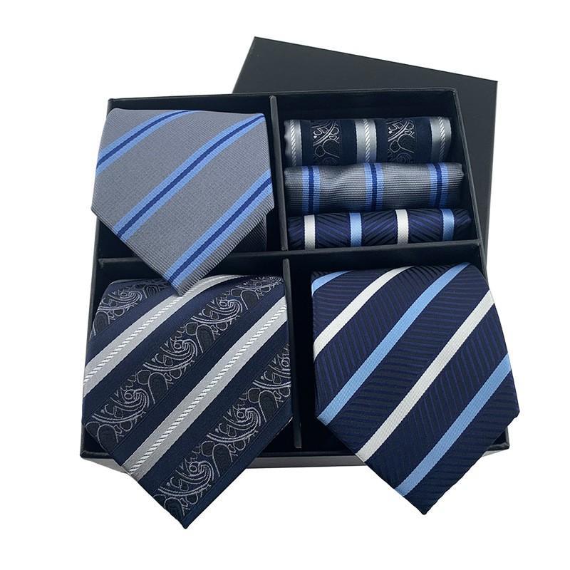 Neue Männer Geschenkbox Krawatte Taschentuch Mode Business Stripe Paisley Krawatte Tasche Square Set Luxus Box Verpackung