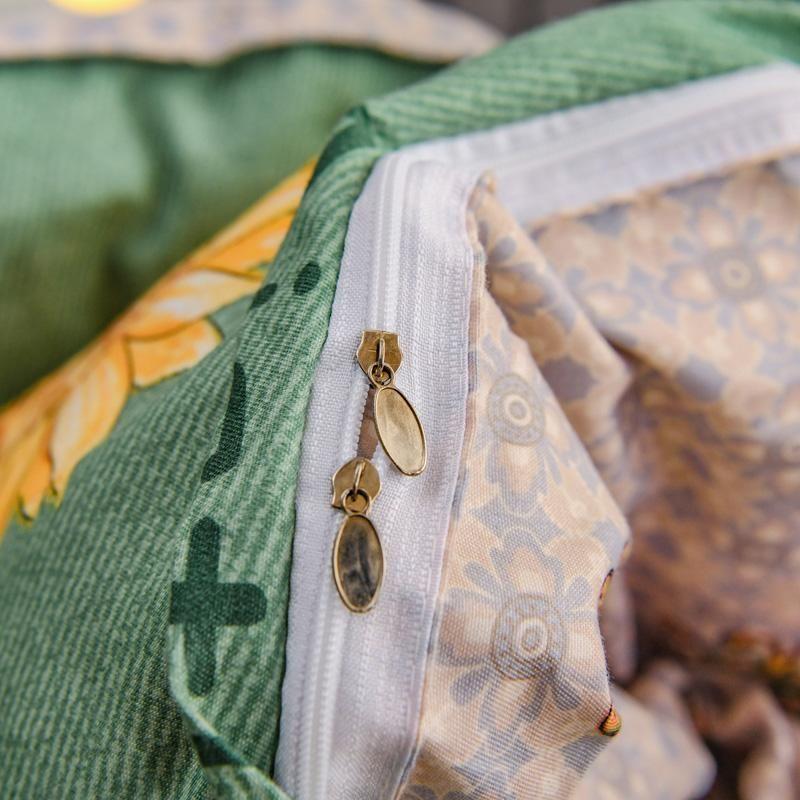 Flores amarillas de lujo 3 o 4 unids juego de ropa de cama conjuntos de cubierta de edredón con cierre de cremallera 1 cubierta de edredón + 1/2 pillowcasas de fusión de EE. UU. / EU / AU Tamaño