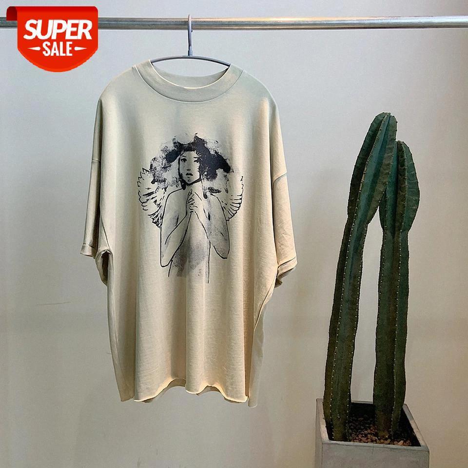 Nuevo cpfm.xyz albaricoque camiseta pintura de tinta apenada Kanye West Sunday Service T-shirts Mejor calidad Casual Top Tees # S21A