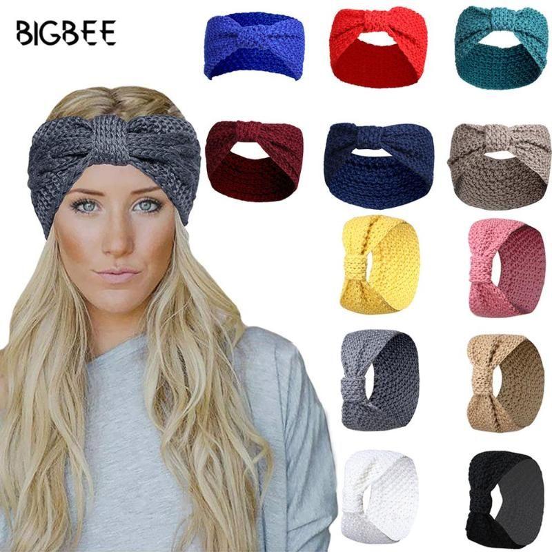 Saç Aksesuarları Güzel Kış Bantlar Kadınlar Için Türban Ilmek Headdress Katı Renk Örme Yün Yay Bandı Avrupa Şapkalar