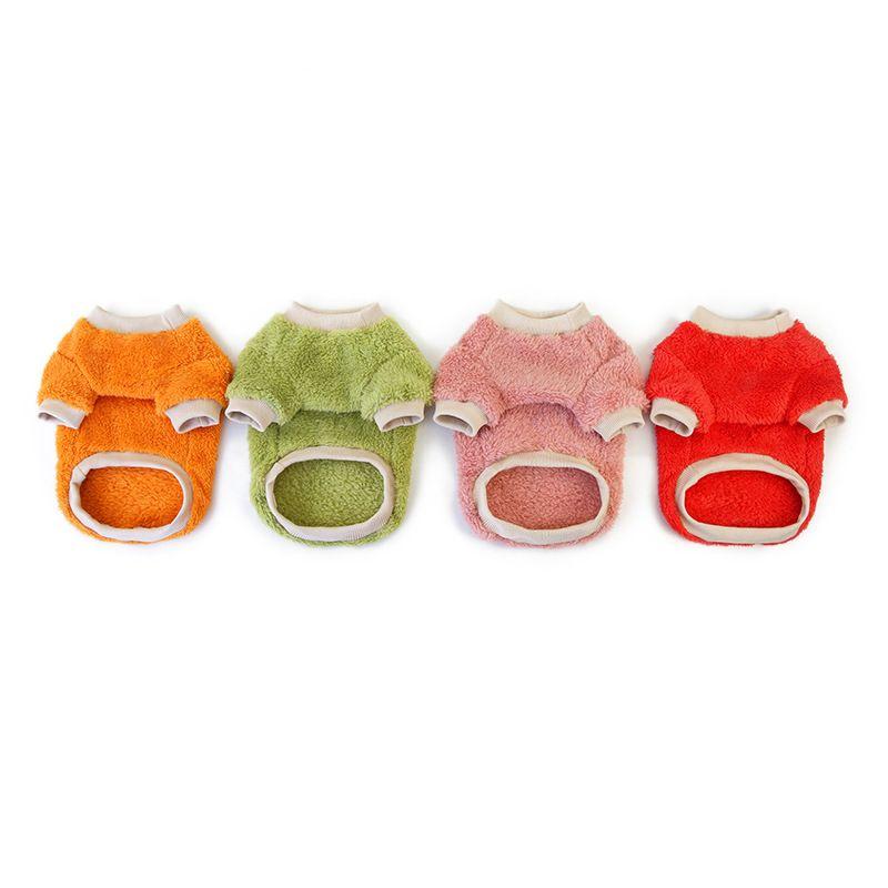Flanell Pullover Haustier Hund Fleece Hoodie Orange Zubehör Halten Sie warme Kleidung Mode Welpen liefert Mantel Herbst Winter 7 5Cl K2