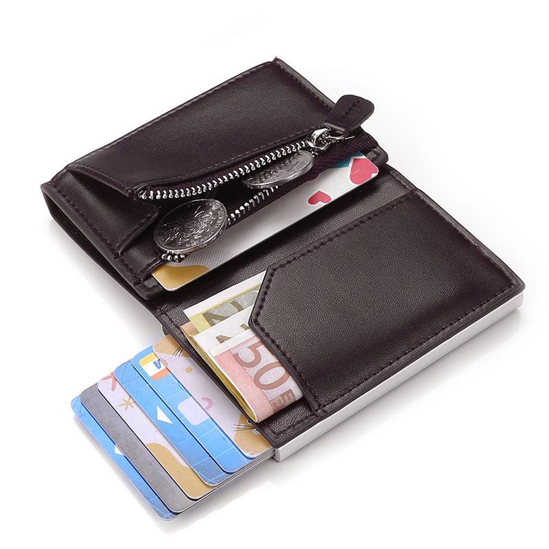 Zovyvol PU-Leder Männer Frauen Smart Brieftasche Automatische Mode Münze Geldbörse RFID Aluminiumbox Diebstahlsicherung Kartenhalter Slim Card Case