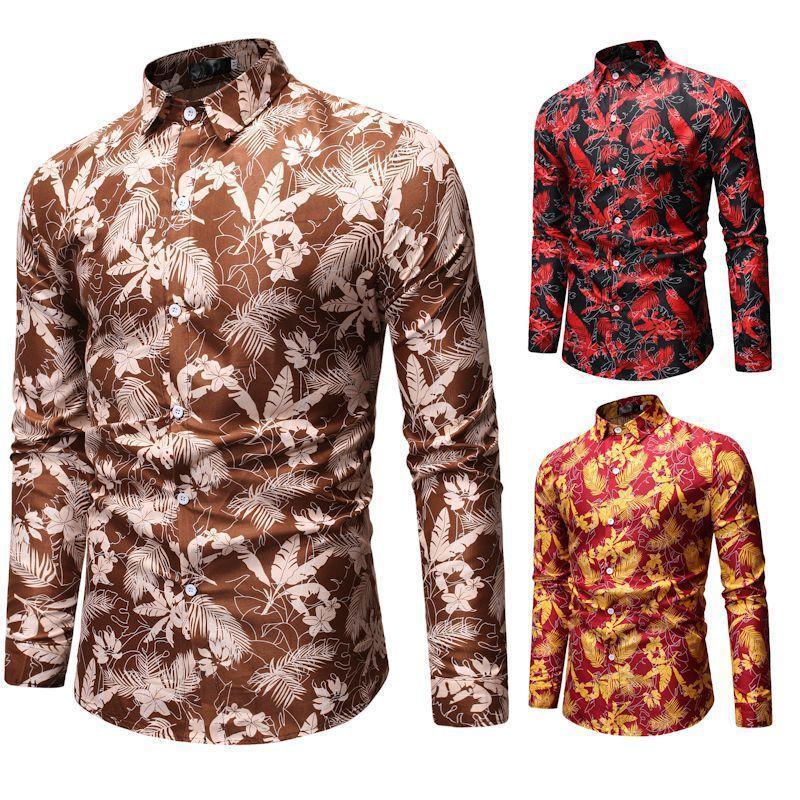 Moda primavera autunno casual uomo camicia slim fit fiore stampa camicia manica lunga camicie maschile social masculina botanica