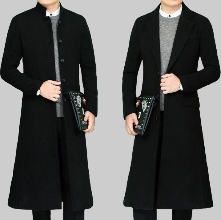 Épaissir manteau de laine décontracté hommes trenchs manches longues manches manches longues hommes manteau cachemire Casaco masculino support col noir Angleterre