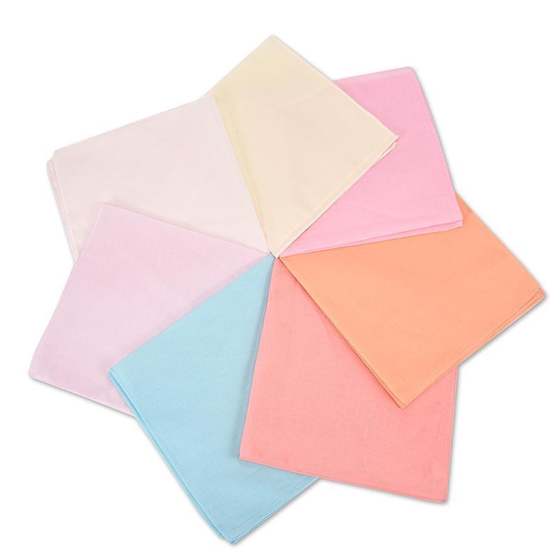 Cor cor lenço lenço lenço de algodão liso de algodão toalha quadrada teeexm