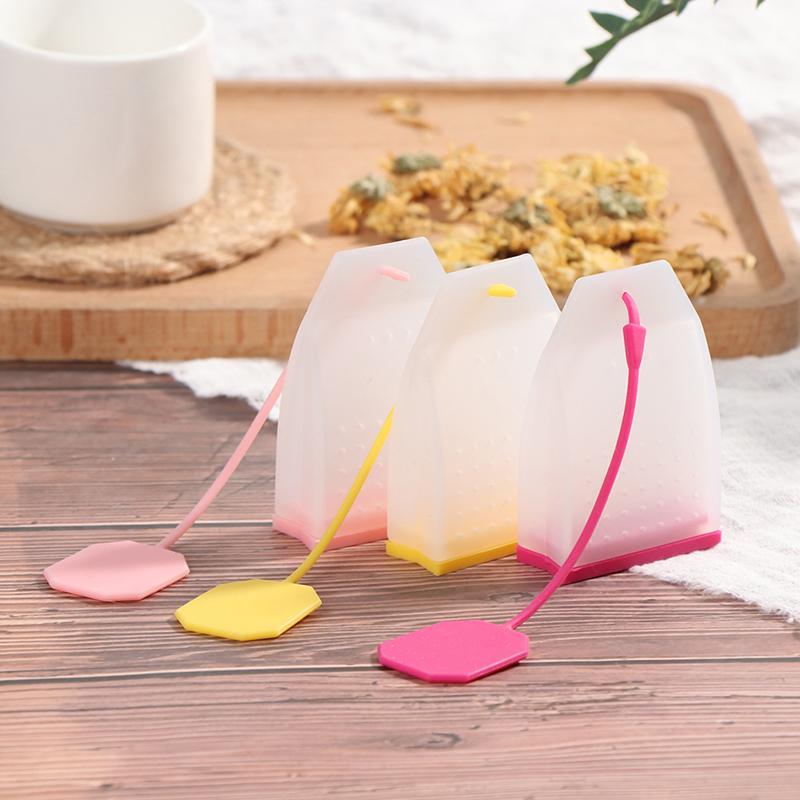 1 adet Çanta Stil Silikon Çay Demlikler Çay Süzgeçleri Bitkisel Baharat Demlik Filtreleri Kokulu Mutfak Kahve Çay Araçları