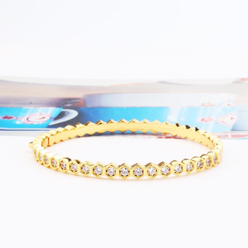 hexagonal design style womens bracelets fashion jewelry friendship bracelets stainless steel bracelets silver rose gold bangle bracelet