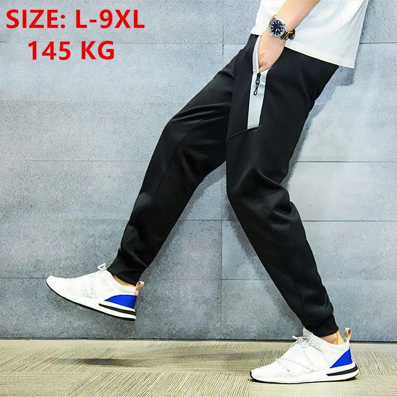 Joggers Uomini Hip Hop Jogger pantaloni sportivi Stretched Nero Harem Tuta pantaloni da jogging estate più il formato 7XL 8XL 9XL Sweatpants C1118