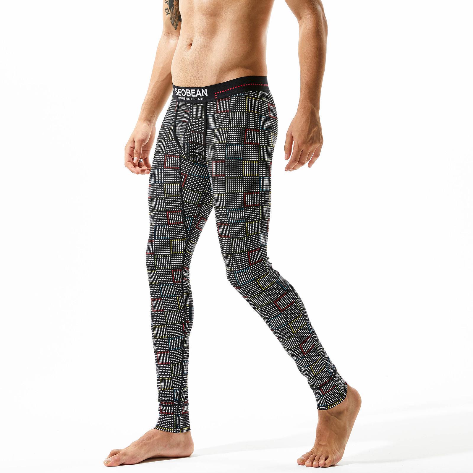 Erkek Ekose Uzun Johns Kış Sonbahar Iç Çamaşırı Rahat Pamuk Sıcak Termal Külot Tayt Erkek Tayt