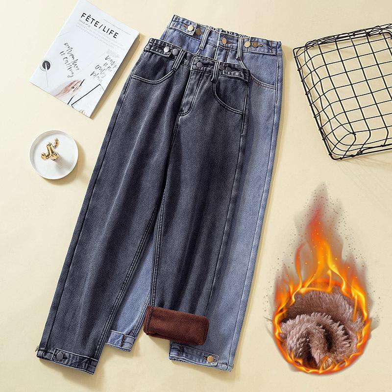 Kadınlar Kış Polar Erkek Arkadaşı Boyutu 5XL Casual Elastik Bel Artı Kadife Kot Anne Sıcak Gevşek Denim Pantolon Pantolon