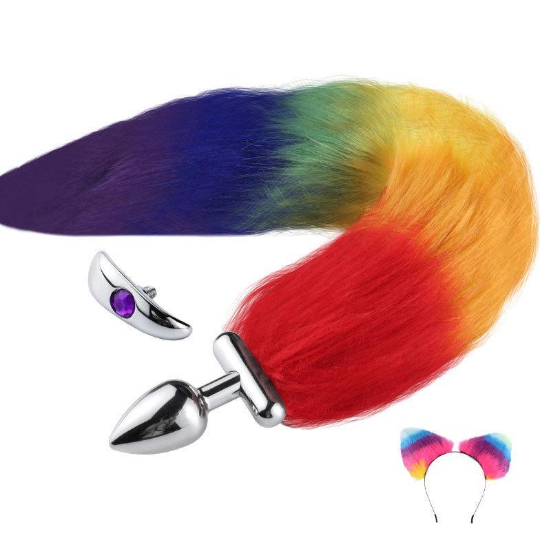 Bandeau d'oreilles mignonnes avec renard / lapin queue métal métal Button Plug anal érotique Cosplay Accessoires pour adultes jouets sexuels pour couple