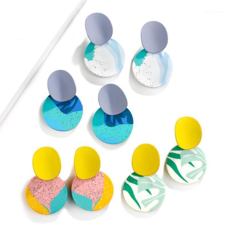 Aensoa New Unique Colorful Round Pendant Goccia Orecchini per le donne 2020 Gioielli di moda Polimero Argilla Geometrica orecchini geometrici Pendoientes1