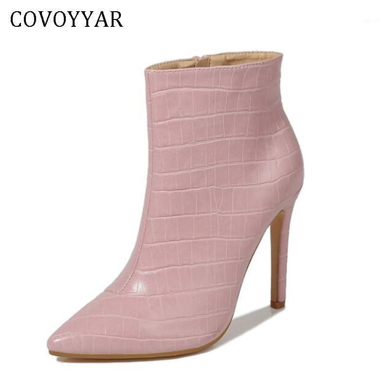COVOYYAR 2021 Autumn Winter Thin Heeled Women Boots Stiletto Ankle Boots Fur-lined Pointed Toe Woman Pumps Big Size 35-42 WBS1021