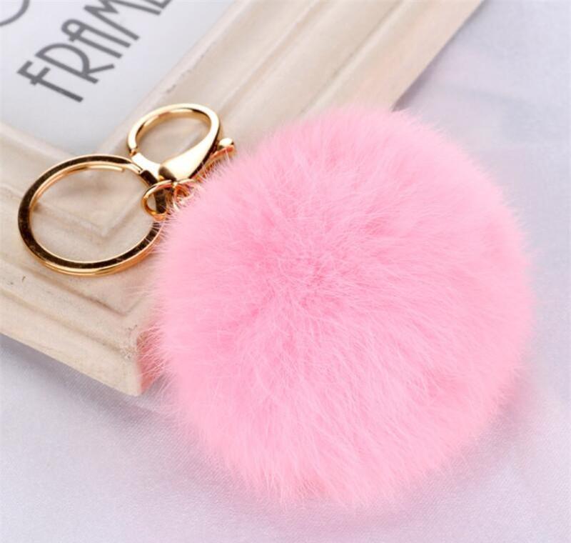 متعدد الالوان الوردي أرنب الفراء الكرة المفاتيح حقيبة أفخم سيارة مفتاح حامل قلادة مفتاح سلسلة خواتم للنساء 2020 jllhtk bde_jewelry