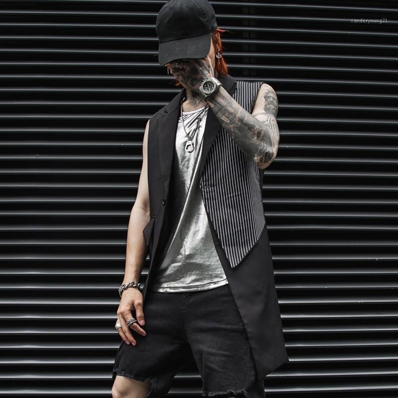 Мужские жилеты мода мужская длинный костюм жилет пэчворк полосатый без рукавов жилет блейдер Gilet Homme личность личности Slim Fit Club Party Party1