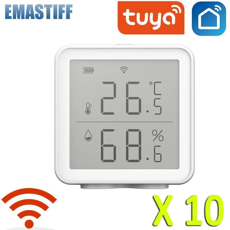 10 pcs tuya wifi temperatura e umidade sensor higrômetro higrômetro termômetro detector apoio alexa google casa inteligente vida