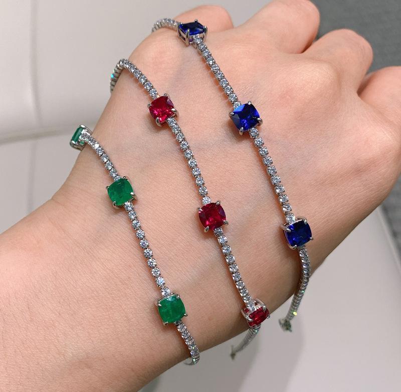 Laboratório de corte de almofada de prata esterlina criado esmeralda moda simples pulseiras para mulheres presentes de jóias