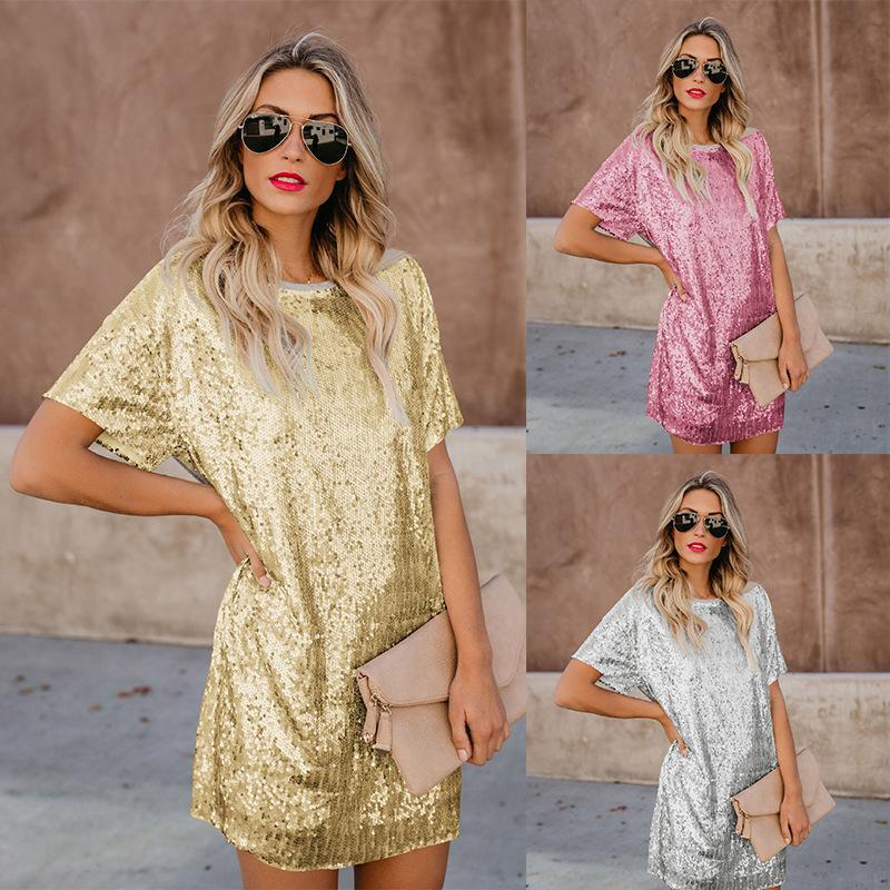 2020 Spring and Summer Women Bronze Mosaic Short-Sleeve Dress Pink Black Gold Silver Color Sequined dress
