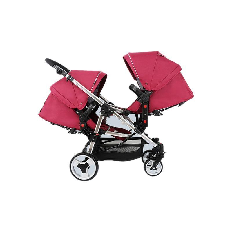 Gezginci # Poussette Çift Cabrio İkiz Bebek Arabası Işık Emici Yüksek Manzara Doğan Katlanır Dört Tekerlekler Pram