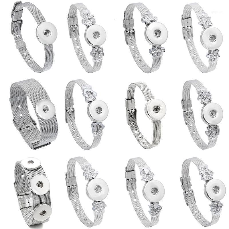 Braccialetti in acciaio inox per gioielli a scatto intercambiabile 18mm con bottoni bottoni da 18 mm Braccialetti Braccialetti per le donne Men1