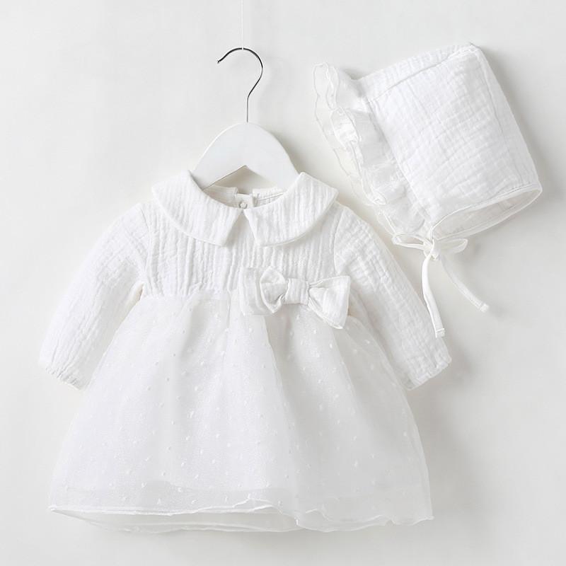 Платья девочки 2021 Детское крещение Детская одежда Одежда Baby Girl Beafishresses Хлопок Принцесса 0-12 месяцев Крещение
