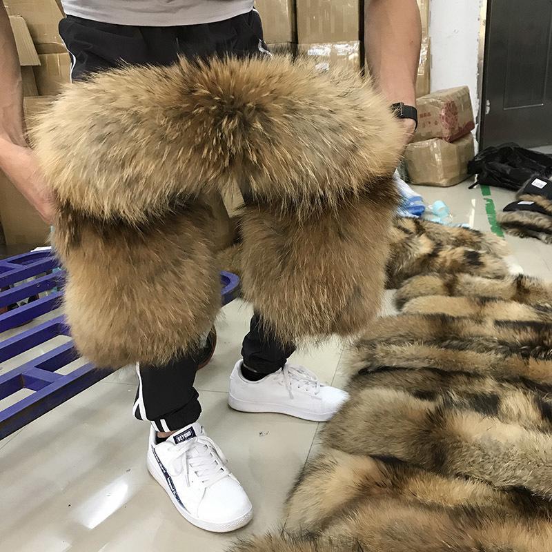 100% Gerçek Kürk Yaka Kış Doğal Rakun Kürk Kadın Eşarplar Ceket Atkılar Lüks Erkek Parka Kadın Sıcak 60 cm 70 cm 80 cm # 2 Y201007