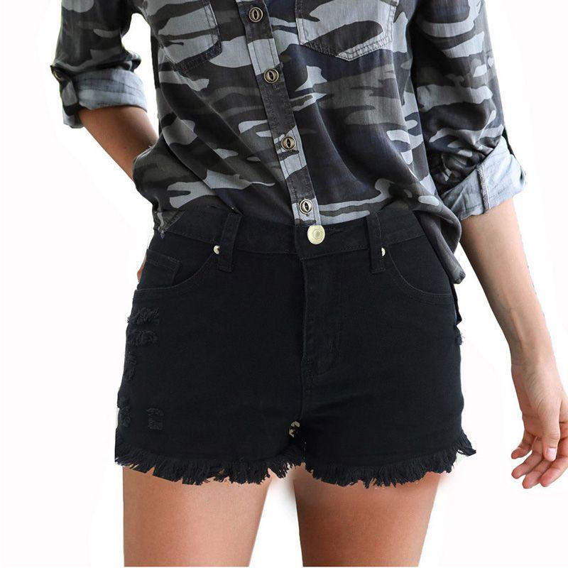 جديد وصول الربيع والصيف جديد ممزق هامش جينز إمرأة بلون السراويل السراويل الساخنة للنساء حجم S-2XL