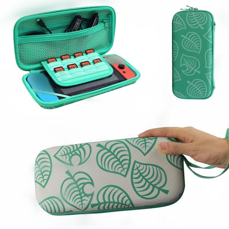 Hard Shell Waterproof Switch Carry Case Animal forest green Leaf Design Portable Travel Switch Console Carry Bag Switch Lite Storage Bag