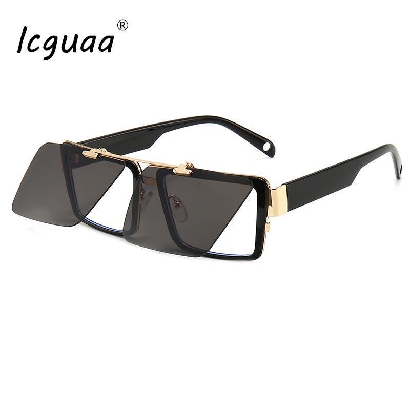 Steampunk Flip Cover Sonnenbrille Frauen 2020 Brand Designer Clamshell Sonnenbrille Männer Square Dampf Punkgläser Shades Sonnenbrille Cwqae