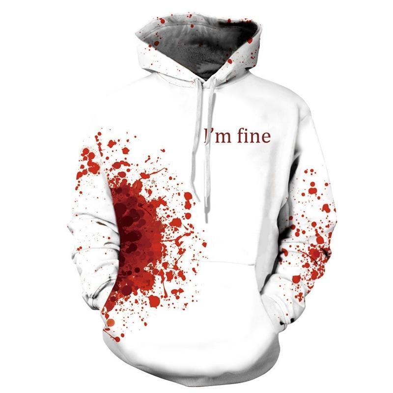 Распечатать рану ужасов кровь толстовки толстовки женские мужчины я в хорошем письме с капюшоном перемычка для отдыха Pullover Cosplay женщин топы LJ201103