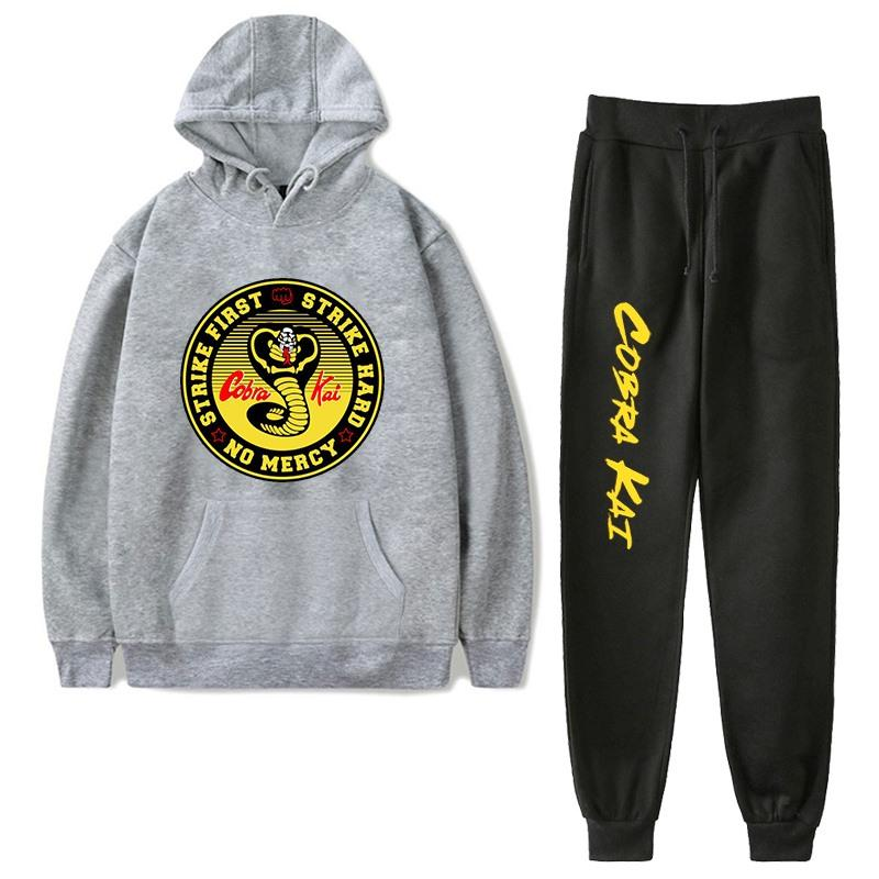 Fleece Tracksuits Women Two Pieces Set Hooded Oversized Sweatshirt Pants Cobra Kai Hoodie Suits Autumn Winter Casual Outfits