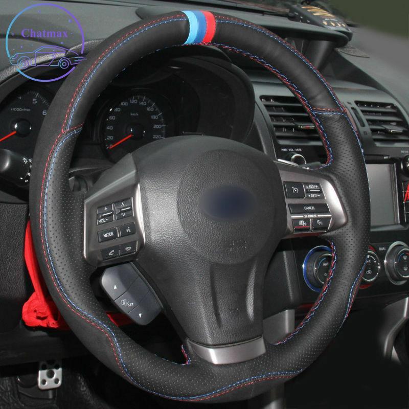 ديي خاصة مخصص سيارة غطاء عجلة القيادة لسوبارو فورستر / إرث / outback / outback / xv 2013-2015 اليد الخياطة الأسود حامل الجلود الديكور
