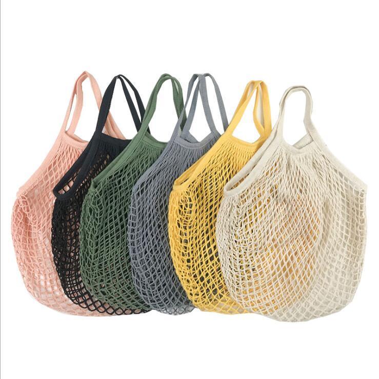 Shopping Sacs d'épicerie Réutilisable Shopping Bag d'épicerie Boutique fourre-tout maillé Filet tissé de coton sacs portables Sacs de stockage de maison Zyy131