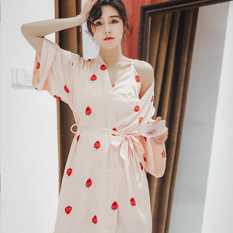 Mulheres imitação de seda camisola camisola de nightgown dois peça terno gelo seda de manga longa roupão housewear maiô sexy nightwear